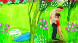 Sara Lundberg målar i gouache och akvarell, ofta i starka färger. Pressbild.